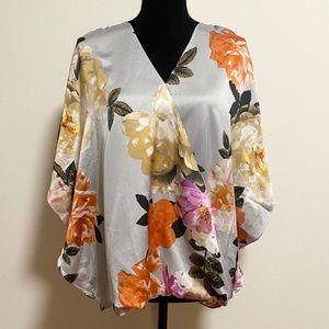 I.N.C International Concepts grey floral blouse L